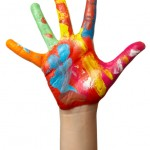 colour painted child hand